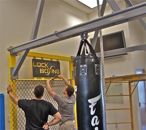 New Pull Up Station with Climbing Rope and Heavy Bags