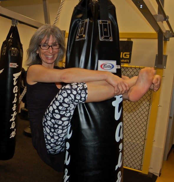 Office Manager Maria Plays on the new Heavy Bags.