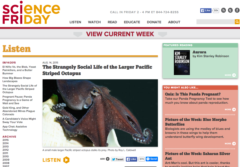 Science Friday: The Strangely Social Life of the Larger Pacific ...